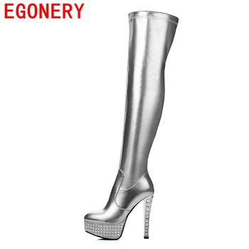 EGONERY shoes 2017 women fashion rhinestone thin high heels modern riding boots over the knee boots short plush pointed toe