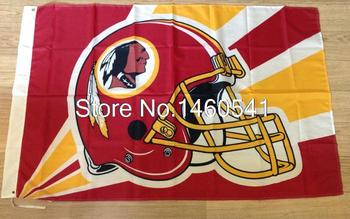 Washington Redskins Шлем Освещение Флаг 3ft x 5ft Полиэстер НФЛ Washington Redskins Баннер Размер № 4 144*96 см QingQing Флаг