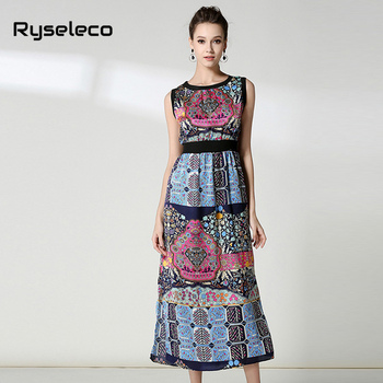 Ryseleco Women Bohemian Long Dresses Female Summer Vintage Enthic Sleeveless Tank Vestidos Beach Holiday Wear Casual Clothing