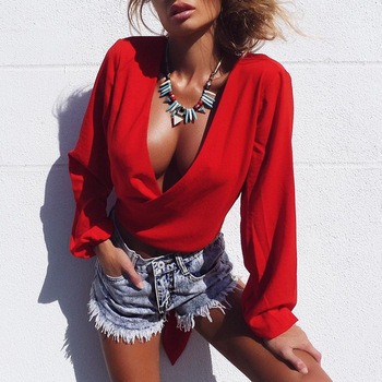 Women V neck T-Shirts 2017 Autumn Ladies long sleeve kimono tees Casual street style Red back tie up bow Tops cropped T Shirt