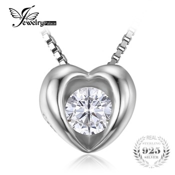 JewelryPalace Любовь 0.4ct Кубический Цирконий Пасьянс Сердце Ожерелье Настоящее Стерлингового Серебра 925 Ювелирные Изделия 45 см Цепи