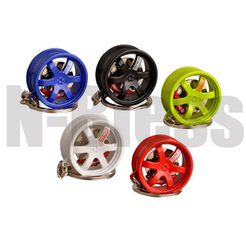 1pc Car Wheel Rim Keychain Creative Metal Alloy Wheel Rim Tuning Keychain Key Chain Keyring with Brake discs