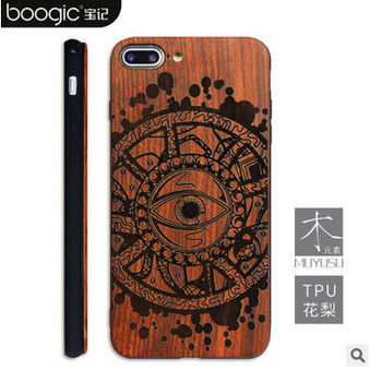 Natural wood case for iphone 6/6s/6s плюс/6 плюс крышки кожи shell